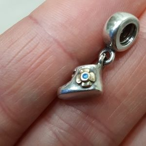 Pandora Silver 14K GOLD Baby Bootie Blue Two Tone